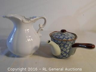 "Single Cup Teapot w/ Strainer & Small Pitcher 6"" T"