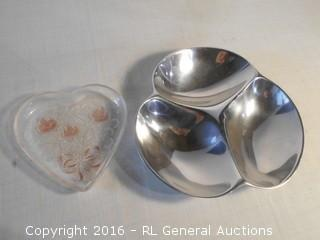 "Vintage Nambe Metal Serving Dish (3 Section)  10.5"" Dia.  & Glass Heart Candy Dish 7"" Dia."