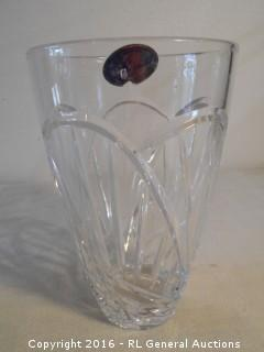 "Vintage Rogaska Full Lead Crystal Vase Hand Made in Yugoslavia  8"" T X 5"" Dia"