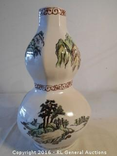 "Large Hand Painted Unique Vase 13"" T X 8"" Dia."