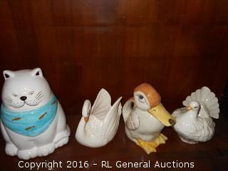 "Cat Cookie Jar 10.5"" T, Duck Pitcher 8.5"" T, 2 Bird Decor Pieces"