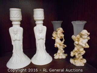 """Pair of Resin Cherub Bud Vases 5"""" T & Ceramic Angel Candleholders 6.5"""" T"""