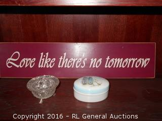 """Holly Hobby Lidded Dish, Pressed Glass Ashtray, Wood Sign 23.5"""" L X 5.5"""" T"""