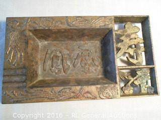 """Heavy Metal Antique Ashtray Highly Detailed 10"""" L X 5.75"""" D"""