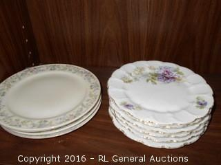 Antique Plates - (4) C.T. Made in Poland Plates & 6 Pc Set with Floral Pattern & Gold Leaf Rims