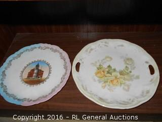 "Antique Platter w/ Handles - Hand Painted Germany, Wheelock Vienna Austria, Highly Decorative Plate ""City Hall, Stoughton, Wis."""