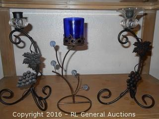 "3 Candlesticks  11"" & 12"" Tall"