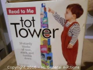 Vintage Tot Tower - Read To Me - 10 Sturdy Blocks to Nest, Stack, & Tumble Down in Original Box