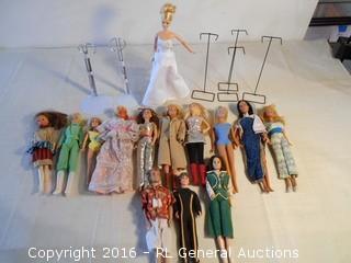 Large Lot of Vintage Dolls & Doll Stands - Barbie's +