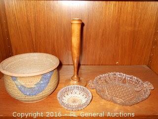 Vintage Oregon Myrtlewood Bud Vase, Pottery, Pressed Glass
