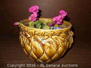 """Vintage Pottery w/ Fake Plant 10"""" Dia. X 8"""" T"""