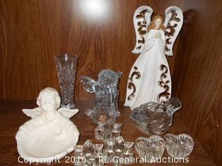 Candle Holders, Crystal Vase, Angel Figurine +
