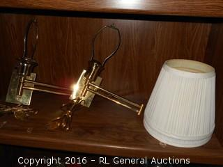 "Pair of Brass Wall Sconce Swivel Lamps w/ Shades  12"" Tall"