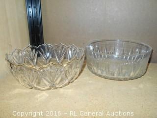 "2 Glass Bowls - Arcoroc France +  8"" Dia. X 3.5"" T"