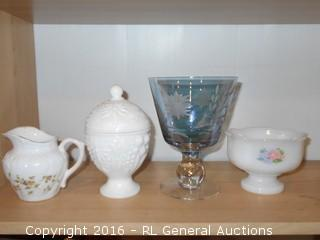"Milk Glass Lidded Compote 6.25"" Tall, Creamer, Etched Goblet 6.5"" Tall"