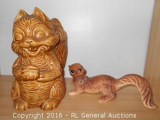 """Vintage Squirrel Cookie Jar w/ Repaired Lid 10"""" T & Vintage 10"""" Squirrel Figurine by Keloin's Japan"""