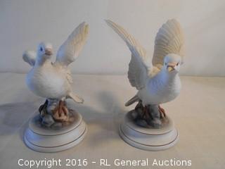 "Vintage White Dove Pair 9"" Tall - Andrea by Sadek Japan"