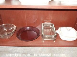 Kitchen Lot - Pyrex Serving Pc w/ Stand, Pyrex Mixing Bowl, Pyrex Pie Plate, +