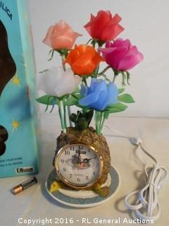 "New Lamp / Clock - Pineapple Base w/ Tulips w/ Lightbulbs 12"" Tall"
