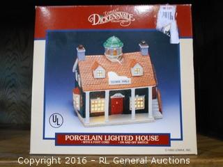 """New Lemax Dickensvale Collectibles Porcelain Lighted House w/ 6 FT. Cord """"Town Hall"""""""