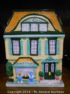 "Sweet Shop House Cookie Jar  9.5"" T X 7.5"" W X 4.5"" D"