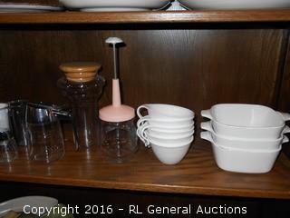 Kitchen Lot - 3 Corning Cookmates 2 3/4 Cup, 6 Unique Cups, ++