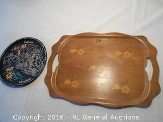 "Vintage Inlaid Walnut ""Overton Bentwood Tray"" South Haven Michigan 20"" L X 14"" D, & 11"" Dia. Delaware Maryland Souvenir Platter"