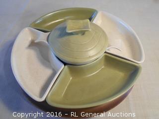 "Very Nice Vintage California USA Pottery Snack Set on Spinning Lazy Susan Base  14"" Dia."