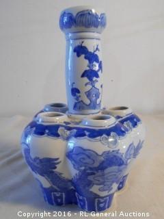"Blue & White Dragon Decorated Flower Vase - 10"" T X 7"" Dia."