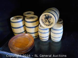 "Vintage Wooden Lowenbrau Barrels (3"" & 2"" Tall) & 4 Hand Carved Redwood Coasters"