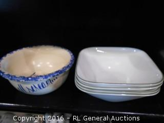 "Set of 4 Corelle Vitrelle Break & Chip Resistant Bowls & Pottery ""We All Scream For Ice Cream"" Bowl"