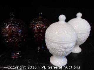 "2 Vintage Milk Glass Compotes & 2 Ruby Red Glass Compotes  6"" Tall"