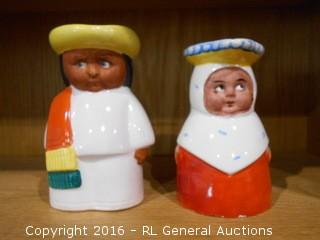 """Vintage Figurine Cups - 1 Made in Czechoslovakia (Right) 4.5"""" Tall & 1 Erphila Made in Germany 5"""" Tall"""
