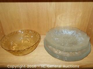 "Vintage Yellow Pressed Glass Bowl 7.75"" Dia. X 3"" T & 4 Flower Plates & 2 Bowls"
