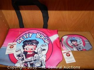 New Betty Boop Carry Bag & Makeup Bag w/ Tags