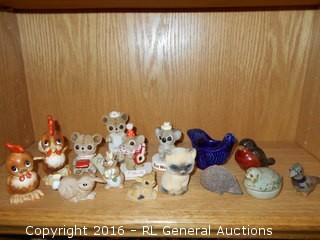 Vintage Animal Miniatures - Ceramic, Cloth, Pottery  -  Vando Japan, George Corp. Japan - Lot of 15
