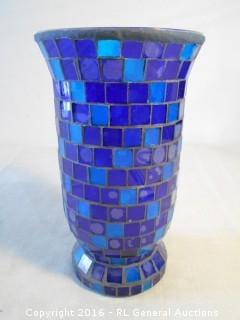 "Mosaic Covered Vase - Great for Candles or Plants  5.5"" Dia X 9.75"" T"