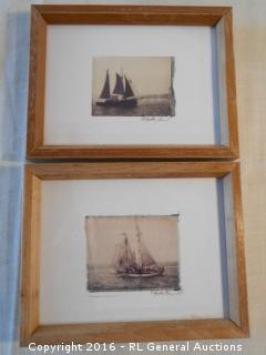 "Pair of Ship Photos by Tulla Booth 8.75"" W X 7"" T"