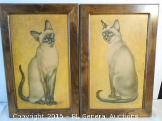 "Pair of Vintage Cat Artwork Prints 15"" W X 23"" T"