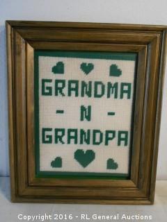 """Hand Stitched Grandma-N-Grandpa Artwork 15"""" W X 18"""" T"""