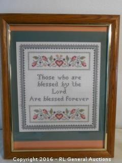 "Vintage Needlepoint Artwork 16"" W X 20.25"" T"