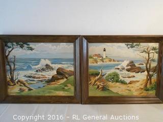 "Pair of Vintage Original Artwork Framed 23.5"" W X 19.5"" T"
