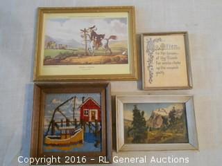 Lot of 4 Small Vintage Artwork - Prints, Needlepoint