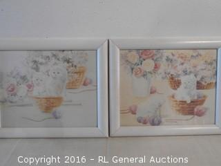 "2 Print Artwork Framed 11.5"" W X 9.5"" T"
