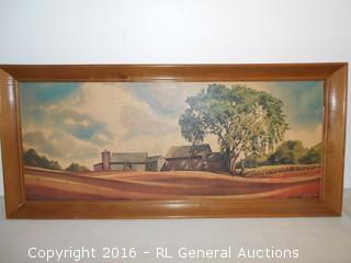 "Large Vintage Signed Artist Print 32.5"" W X 14.5"" T"
