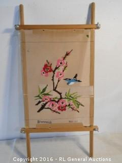"Vintage Needlepoint Artwork on Stretching Board 15"" W X 30"" T"