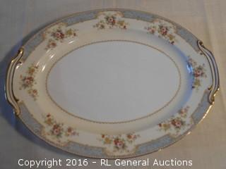 "Stunning WWII Era Noritake China Large Platter - Made in Occupied Japan  16.5"" L X 12.25"" D"