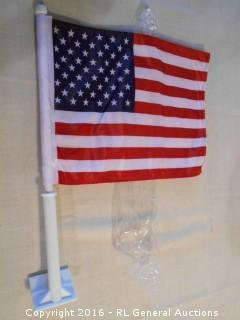 New USA Flag w/ Car Window Clip