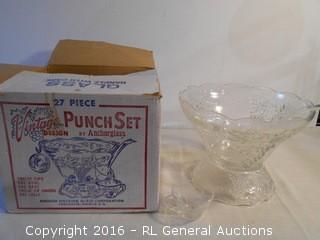 Vintage Punch Set by Anchorglass 27 Pc Set w/ Original Box