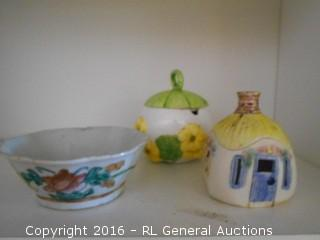 Vintage Decoratives Lot - Josef Originals Lidded Flower Jar, Clouds Folsom Signed Lidded Home Jar, & Hand Painted Bowl